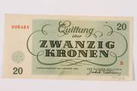 1997.52.5 back Theresienstadt ghetto-labor camp scrip, 20 kronen note  Click to enlarge