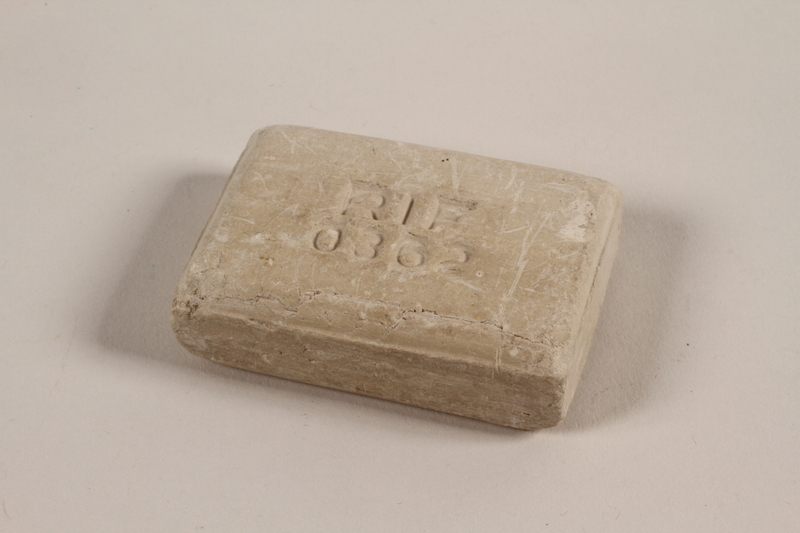 1989.336.1 front Bar of soap stamped RIF produced in occupied Poland