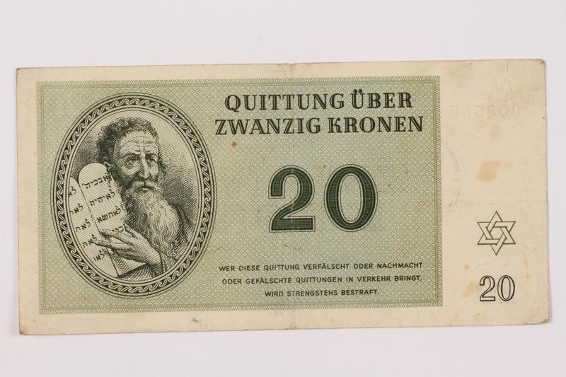 1997.52.6 front Theresienstadt ghetto-labor camp scrip, 20 kronen note