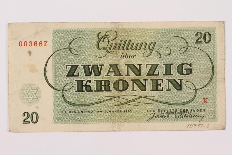 1997.52.6 back Theresienstadt ghetto-labor camp scrip, 20 kronen note