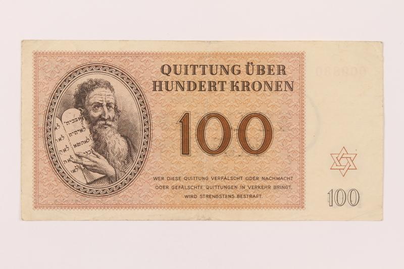 1997.52.7 front Theresienstadt ghetto-labor camp scrip, 100 kronen note