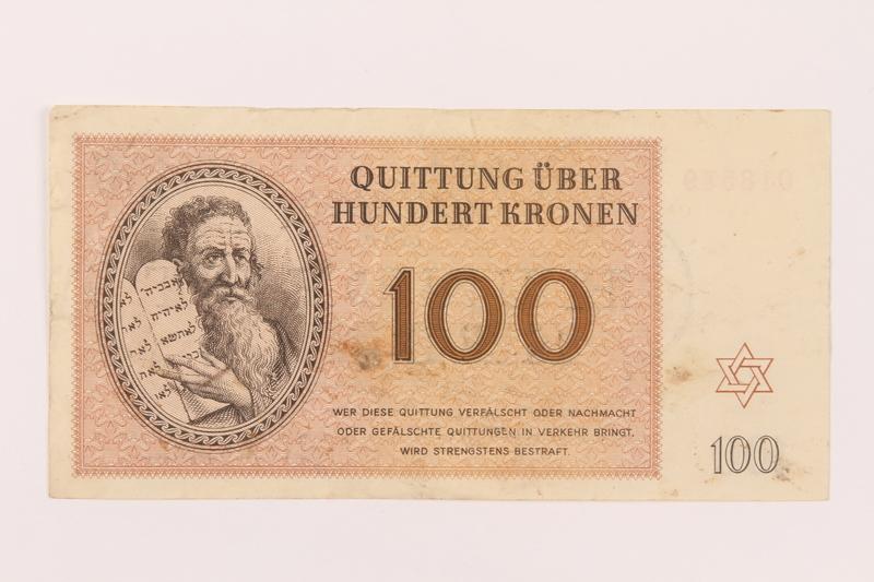 1997.52.8 front Theresienstadt ghetto-labor camp scrip, 100 kronen note