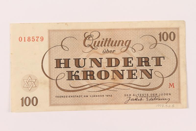 1997.52.8 back Theresienstadt ghetto-labor camp scrip, 100 kronen note