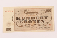 1997.52.8 back Theresienstadt ghetto-labor camp scrip, 100 kronen note  Click to enlarge