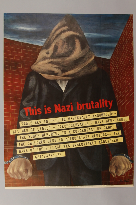 1989.34.2 front Ben Shahn poster of a hooded man protesting the Nazi destruction of Lidice