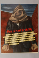 1989.34.2 front Ben Shahn poster of a hooded man protesting the Nazi destruction of Lidice  Click to enlarge