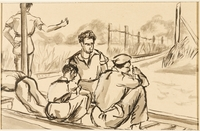 1988.1.56 front Drawing of five men near train tracks by a German Jewish internee  Click to enlarge