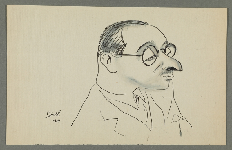 1997.68.83_front Caricature by Bill Spira of bespectacled man