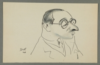 1997.68.83_front Caricature by Bill Spira of bespectacled man  Click to enlarge