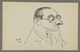 Caricature by Bill Spira of bespectacled man