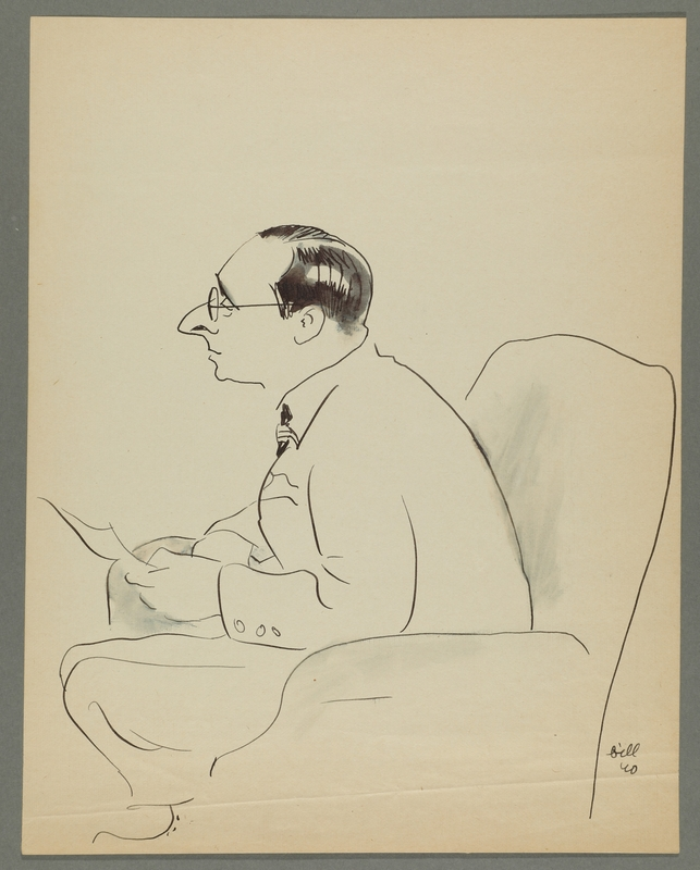 1997.68.84_front Caricature by Bill Spira of bespectacled man