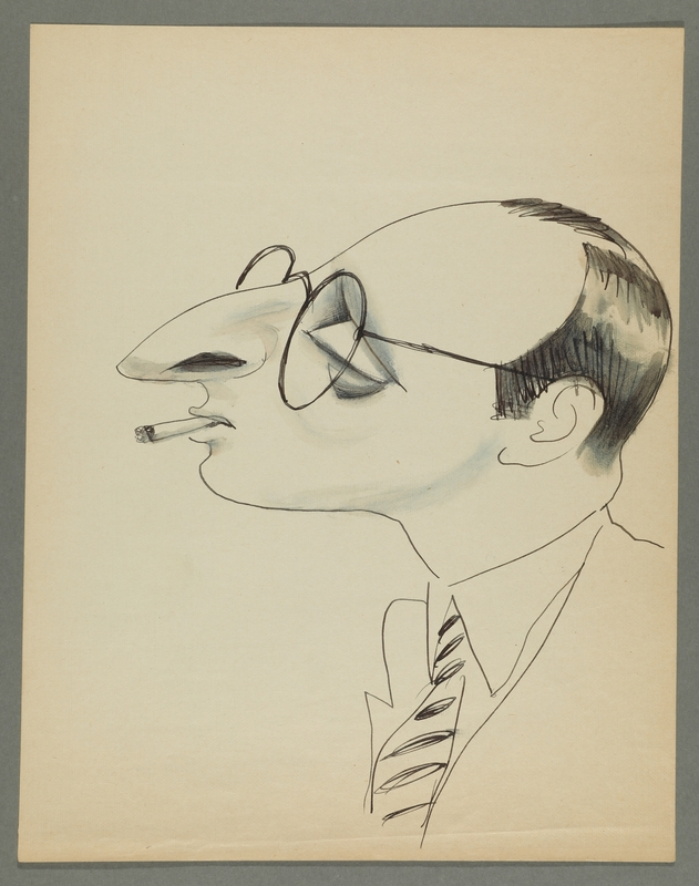 1997.68.87_front Caricature by Bill Spira of bespectacled man