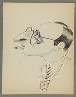1997.68.87_front Caricature by Bill Spira of bespectacled man  Click to enlarge