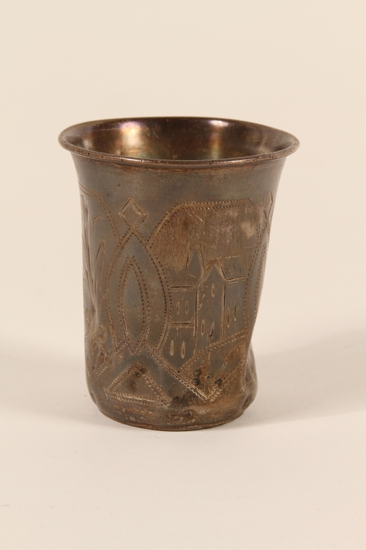 1997.83.1 front Etched kiddush cup received in exchange for bread