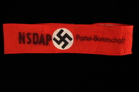 1997.87.5 front Nazi Party readiness red armband with a swastika  Click to enlarge
