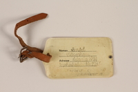 1998.102.1 back Luggage tag used by a Jewish girl during a Kindertransport  Click to enlarge