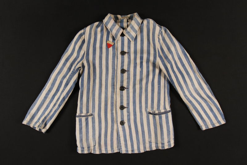 1998.130.3 front Concentration camp uniform jacket with badge worn by a Lithuanian Jewish inmate