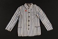 1998.130.3 front Concentration camp uniform jacket with badge worn by a Lithuanian Jewish inmate  Click to enlarge