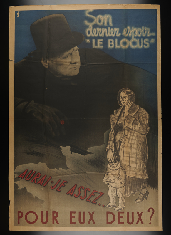 1998.136.2 front Anti-British propaganda poster featuring Winston Churchill looming above a mother and child