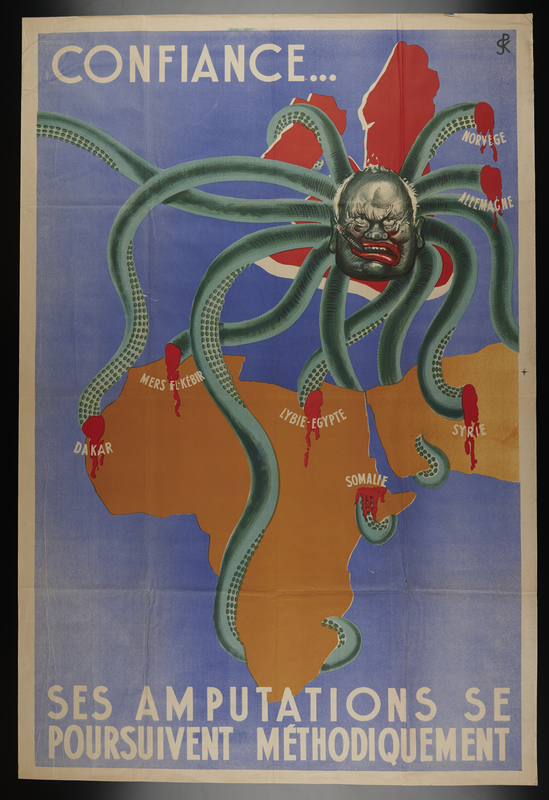 1998.136.3 front Anti-British propaganda poster showing Churchill's tentacles cut out of Africa and the Middle East