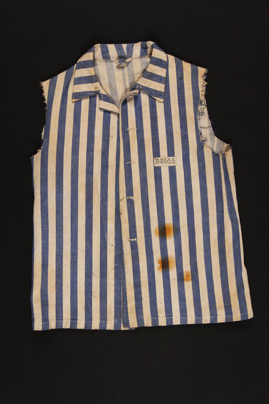 1998.14.1 front Concentration camp inmate uniform jacket