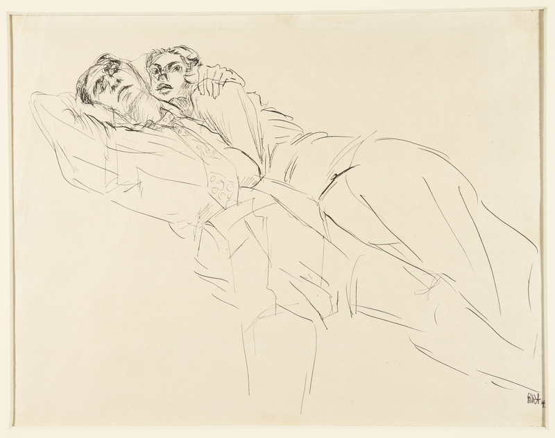 1988.1.58 front Drawing of a couple by a German Jewish internee
