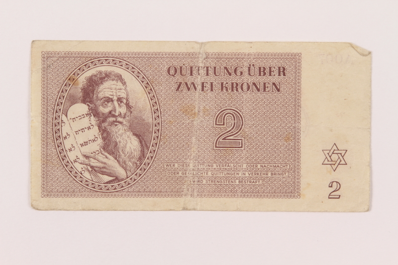 1998.20.1 front Theresienstadt ghetto-labor camp scrip, 2 kronen note, owned by a child inmate
