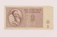 1998.20.1 front Theresienstadt ghetto-labor camp scrip, 2 kronen note, owned by a child inmate  Click to enlarge