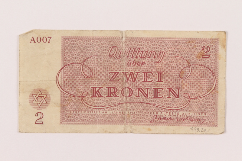 1998.20.1 back Theresienstadt ghetto-labor camp scrip, 2 kronen note, owned by a child inmate