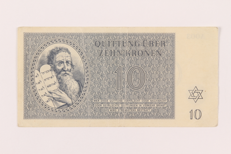 1998.20.2 front Theresienstadt ghetto-labor camp scrip, 10 kronen note, owned by a child inmate