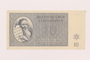 Theresienstadt ghetto-labor camp scrip, 10 kronen note, owned by a child inmate