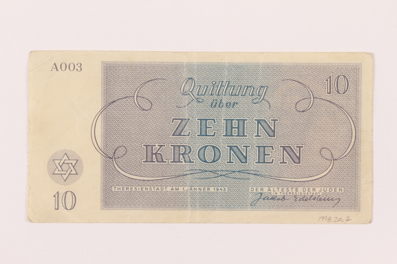 1998.20.2 back Theresienstadt ghetto-labor camp scrip, 10 kronen note, owned by a child inmate