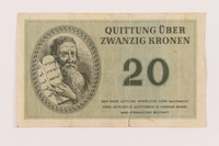1998.20.3 front Theresienstadt ghetto-labor camp scrip, 20 kronen note, owned by a child inmate  Click to enlarge