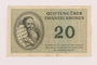 Theresienstadt ghetto-labor camp scrip, 20 kronen note, owned by a child inmate