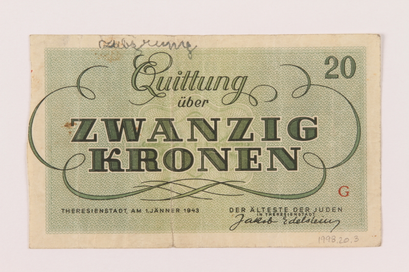1998.20.3 back Theresienstadt ghetto-labor camp scrip, 20 kronen note, owned by a child inmate