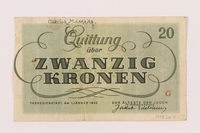 1998.20.3 back Theresienstadt ghetto-labor camp scrip, 20 kronen note, owned by a child inmate  Click to enlarge