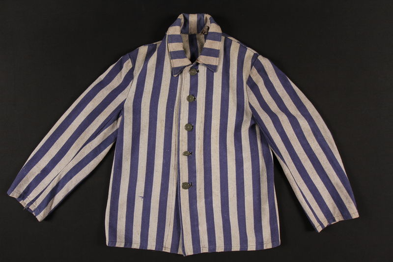 1998.32.1 front Concentration camp inmate jacket worn by Polish Jewish woman in Auschwitz and Ravensbrueck