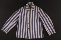 1998.32.1 front Concentration camp inmate jacket worn by Polish Jewish woman in Auschwitz and Ravensbrueck  Click to enlarge