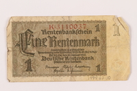 1998.62.10 front Nazi Germany 1 (eine) Rentenmark note  Click to enlarge