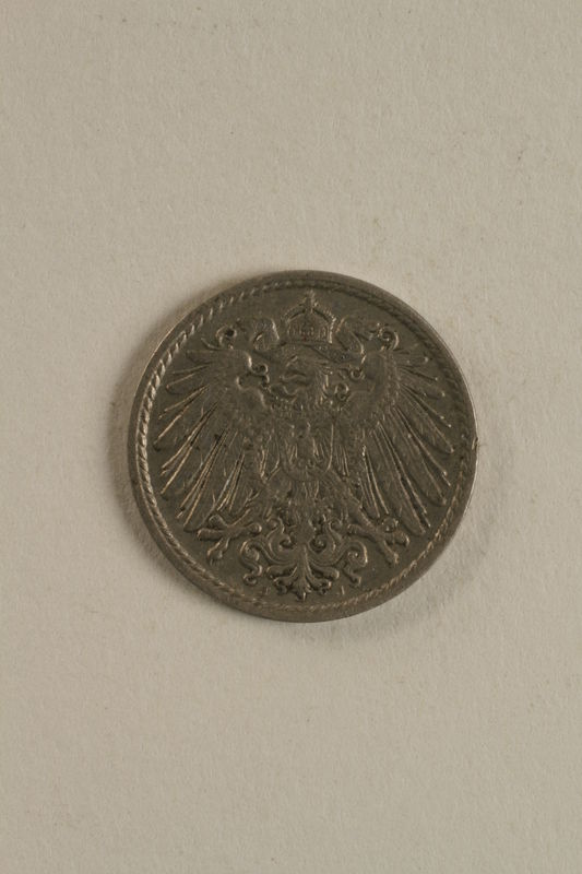 1998.62.41 front Imperial Germany, 5 pfennig coin with the coat of arms of Wilhem II