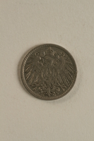 1998.62.41 front Imperial Germany, 5 pfennig coin with the coat of arms of Wilhem II  Click to enlarge