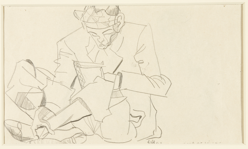 1988.1.59 front Two-sided drawing of a man reading and two figures sitting by a German Jewish internee