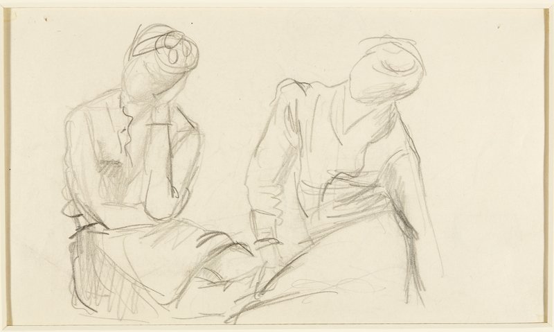 1988.1.59 back Two-sided drawing of a man reading and two figures sitting by a German Jewish internee