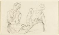1988.1.59 back Two-sided drawing of a man reading and two figures sitting by a German Jewish internee  Click to enlarge