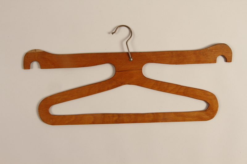 1998.65.1_h front Three hangers for a wardrobe trunk used by German Jewish refugees on the MS St. Louis