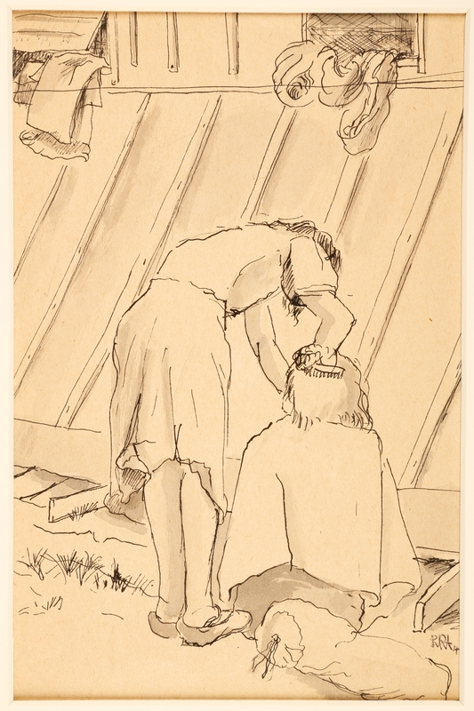 1988.1.6 front Drawing of a woman combing another woman's hair by a German Jewish internee