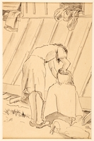 1988.1.6 front Drawing of a woman combing another woman's hair by a German Jewish internee  Click to enlarge