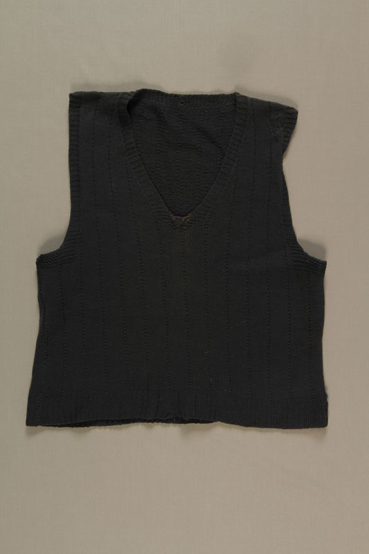 1990.100.1 front Wool sweater vest worn by a German Jewish displaced person