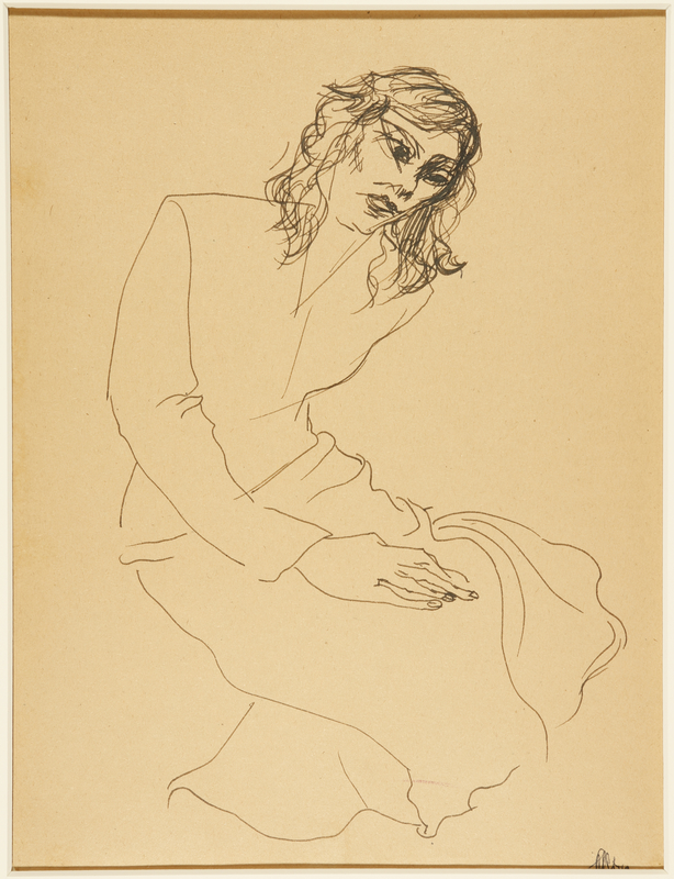 1988.1.60 front Drawing of a seated woman by a German Jewish internee