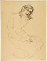 1988.1.60 front Drawing of a seated woman by a German Jewish internee  Click to enlarge